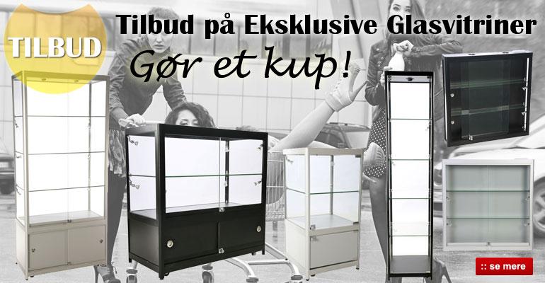 Glasvitriner på tilbud - køb billige glasvitriner