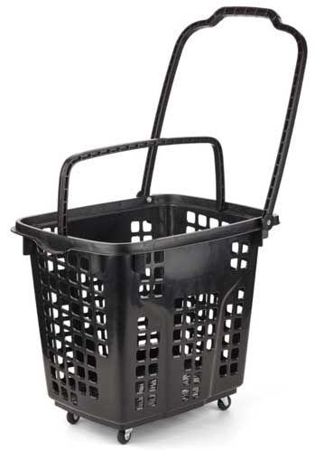 Stor indkøbskurv i sort farve med hjul og to træk håndtag - Køb indkøbskurve online her