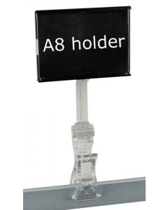 A8 skilteholder med klemme og A8-lomme - Kan bruges til ethvert formål