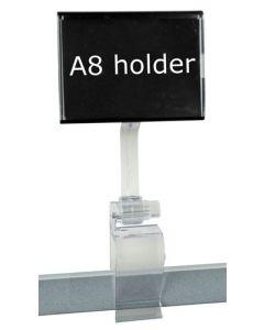 A8 skilteholder med klemme - Kan bruges i enhver handel