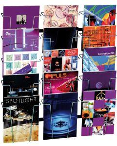 Flot brochureholder til væg med plads til mange kataloger