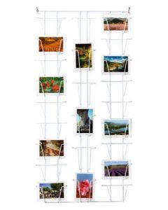 Postkortholder væg med 24 rum fordelt på vandret og lodret visning