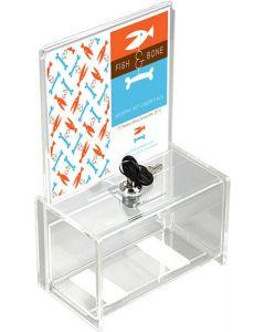 Akrylboks / akrylbox med lås og A5 skilteholder samt slids til sedler etc.