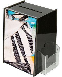 Sort akryl konkurrencebox - Med slids, lås, skilteholder og brochureholder