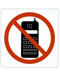 """Symbol med """"Mobiltelefon forbudt"""" - Med slevklæbe for nem montering"""
