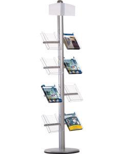 Flot A4 stander med 8 stk. holder til A4 brochure - Til indendørs brug