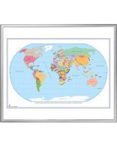 Whiteboard med print af verdenskorte