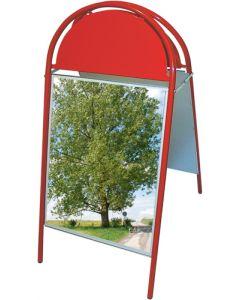 A-skilt i rød med buet logo plade - Passer til plakater på 50 x 70 cm