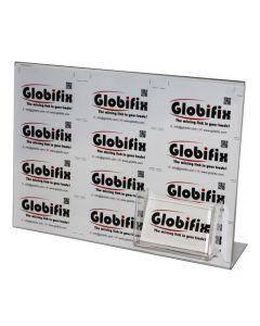 Horisontal A4 skilteholder med plast til firmakort - I klar akryl