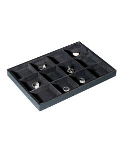 Smykke-holder / bakke med 12 rum til ringe og andre smykker