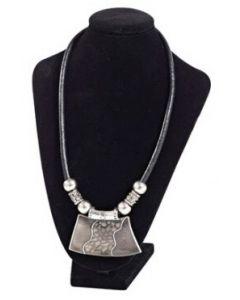 Flot og lækkert halskæde display - Betrukket i sort flock
