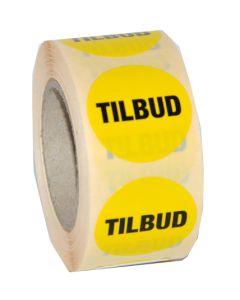 Tilbuds etiketter i farven gul med sort tekst - Perfekt til tilbudsvarer