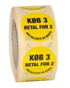 """Etikette med """"Køb 3 - betal for 2"""" påtrykt - Sort på gul"""