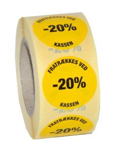 Gul etikette med klæbemasse - Nemt og enkelt prismærkning