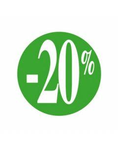 Etikette på rulle med -20% i farven grøn - Perfekt til nedsatte varer