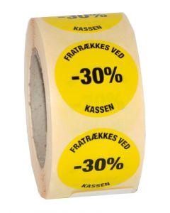 Tilbudsmærkning med -30% etikette - 500 stk, pr rulle
