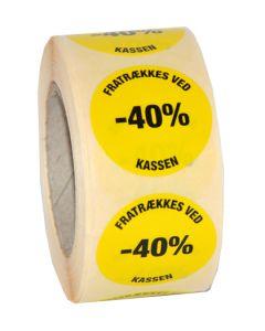 "Gul udsalgs etikette med ""Fratrækkes ved kasse -40%"""
