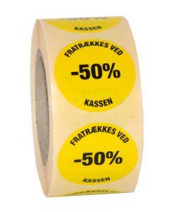 -50 procent pris etikette med klæbemasse - Perfekt til udsalg og tilbud