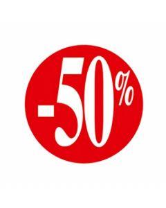 Rød prisetikette med -50% - 500 stk. pr rulle