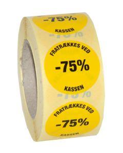 Etikette i gul farve med -75% i sort tekst - Nem udsalgsetikette