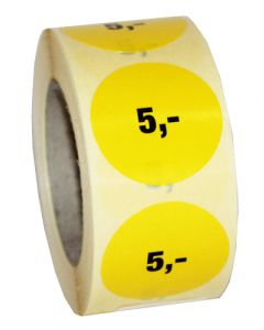5 krone etikette med klæbemasse - 500 stk. pr rulle
