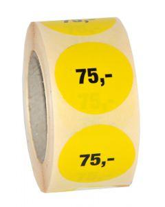 Etikette med påtryk 75,- på gul prismærke - Kan bruges i enhver handel