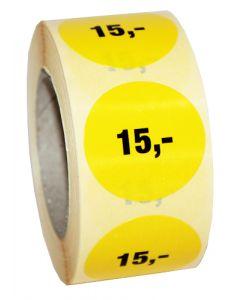 Pris etikette med 15 kroner - 500 stk. pr rulle