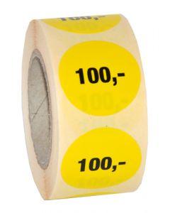 Smart prismærke med påtrykt 100,- på rulle med 500 stk.