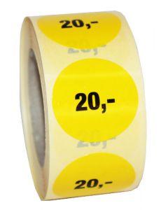 Prismærke rulle med 500 stk. i 20,- // Perfekt til tilbudsvarer