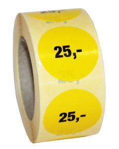 Etikette med klæbe til prismærkning // Påtrykt med 25,-