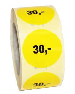 30,- pris etikette med sort på gul prismærke - 500 stk. pr rulle