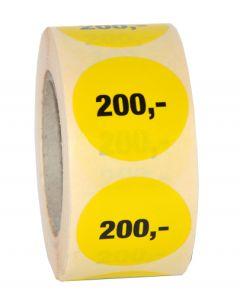200,- etikette med klæbemasse - 500 stk. pr rulle
