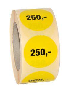 Ø30 mm prismærke etikette med 250,- påtrykt - 500 stk. pr rulle