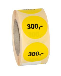 300,- pris etikette med klæbe - Perfekt til udsalgs produkter