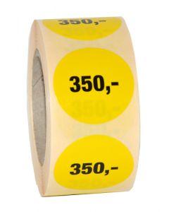 Rulle med prismærker påtrykt 350,- // Enkelt prismærkning