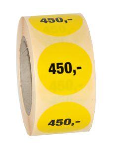 Gul etikette med påtrykt 450,- // Ø30 mm etikette med 500 stk.