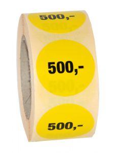 Rund etikette i gul med 500,- påtrykt i sort farve - Perfekt til tilbud og udsalg