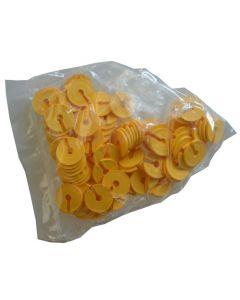 Smarte infomærker i gul til inddeling af tøj på bøjlekrog - Pakket med 100 stk.