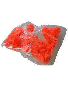 Infomærker pakket med 100 stk. i rød - Passer til 5 mm bøjlekrog