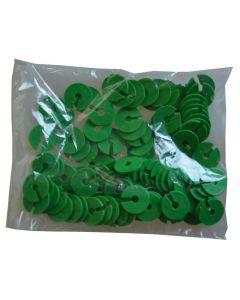 Grøn infomærke / infoskive til 5 mm krog - Pakket med 100 stk.