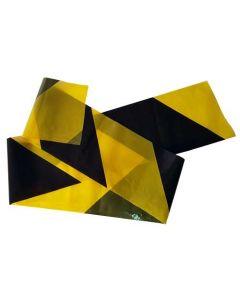Sort og gul afspærringsbånd på rulle - Perfekt til tilbuds- og udsalgskampagner