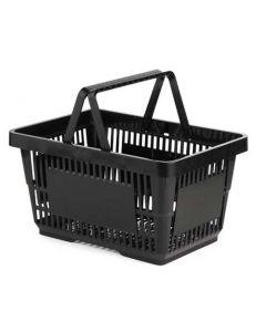 Indkøbskurv med 2 greb / bære håndtag i sort - Online salg til billig pris