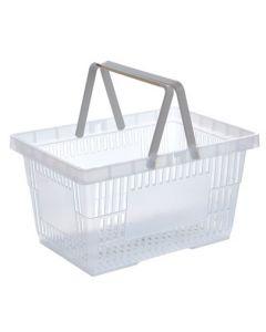 Indkøbskurv til kunder - Klar plast på 28 liter
