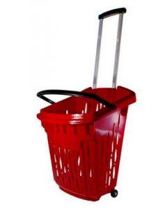 Indkøbskurv af plastik med justerbar træk-håndtag