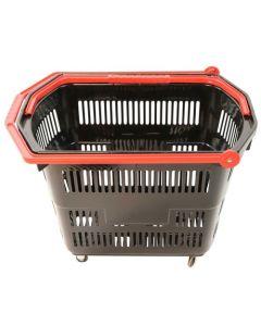 Sort indkøbskurv med røde håndtag - Praktisk med 4 hjul