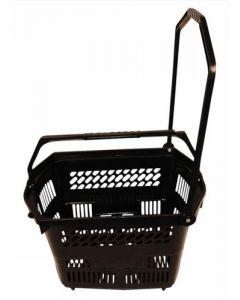 Indkøbskurv med hjul og træk-håndtag i sort farve - Køb online