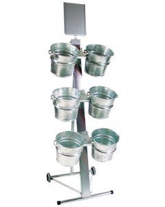 Flot stativ med hjul og zink spande til vand - Perfekt til blomster