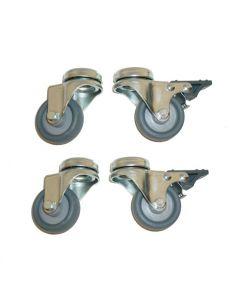 Universal hjulsæt i Ø5 cm - 2 stk. uden og 2 stk. med bremse