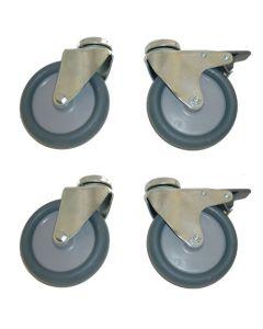 Ø7,5 cm universal hjul - Sæt med 4 stk. hvoraf 2 uden og 2 med bremse