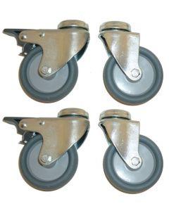 Universal sæt med 4 stk. hjul i Ø10 cm - Uden og med bremse
